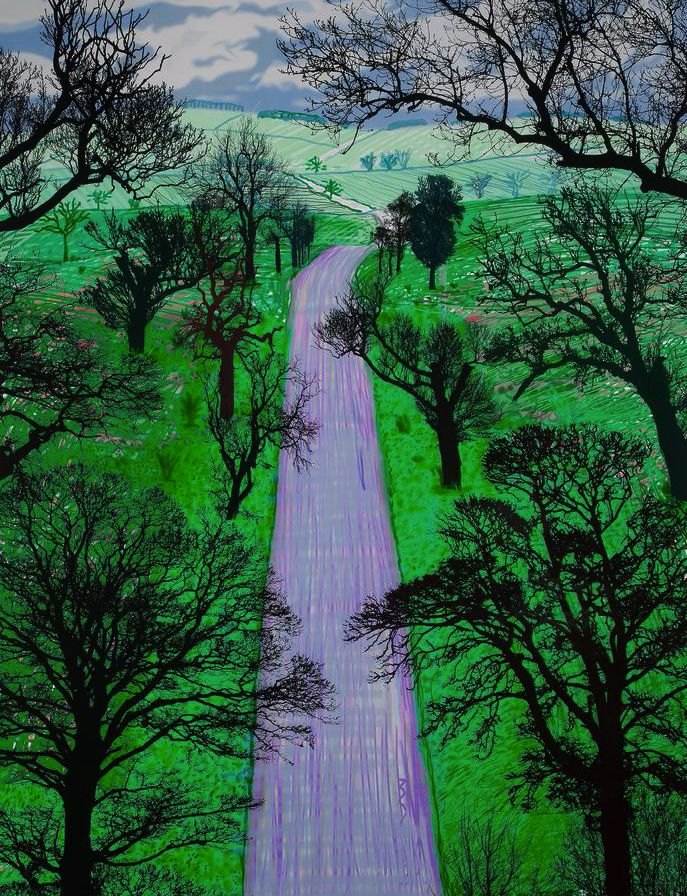 David Hockney (British, b. 1937), Winter Road near Kilham, 2008. Inkjet printed computer drawing on paper, 48 ¼ x 37 in. Numbered 20/25.