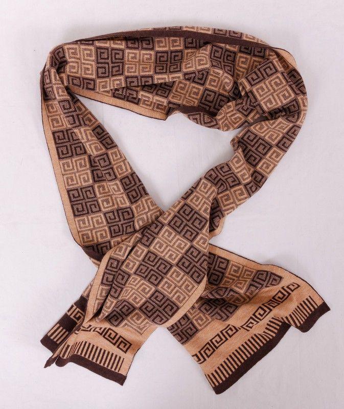 Шарф Givenchy длинный теплый коричневый с эмблемами