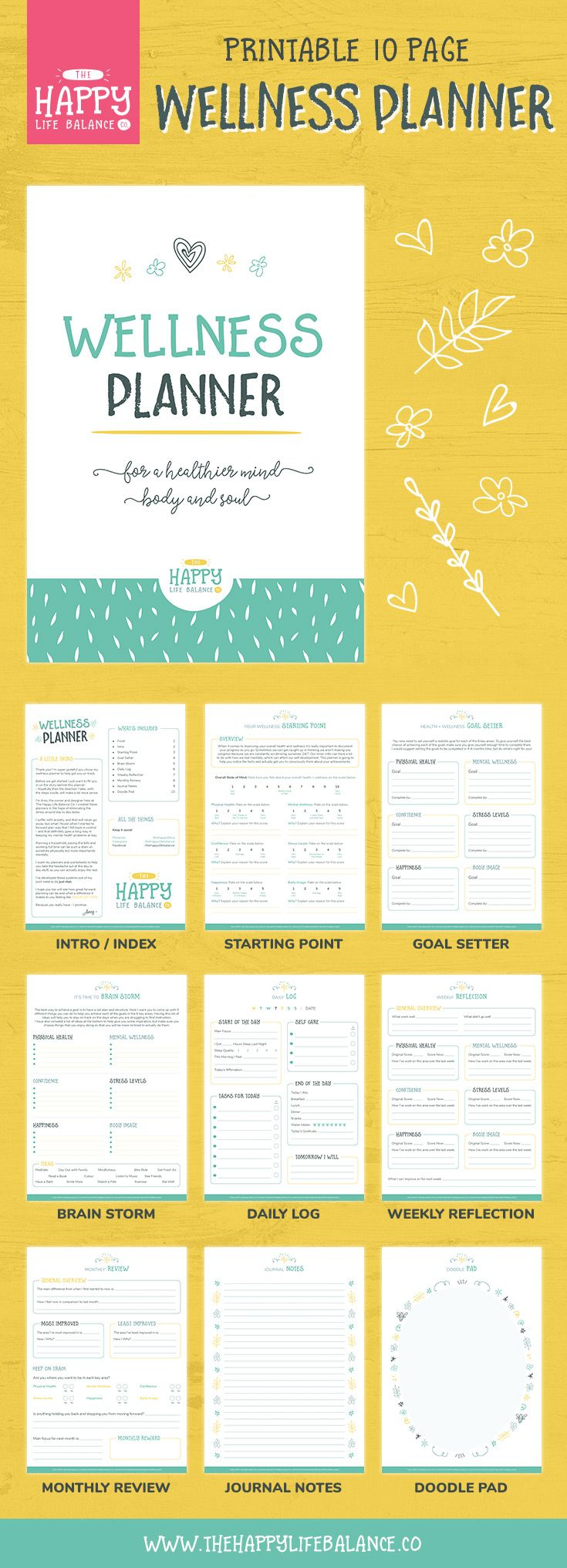 Improve your mind, body and soul with this 10-page wellness planner. Your mental health and physical health are both as important as each other so start making them a priority with this printable planner. Great for helping you achieve your health goals and building your confidence.