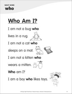 Who Am I Sight Word Who Super Sight Words Poem