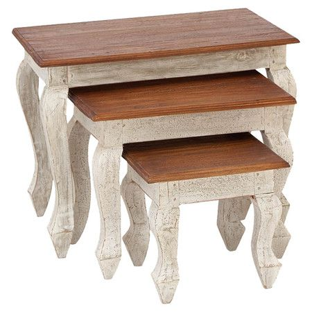 3 Piece Nesting Table Set In White amp Cherry On Deals