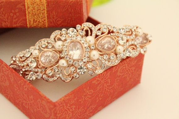 Rose Gold Wedding hair accessories Barrettes Rose by bridal101