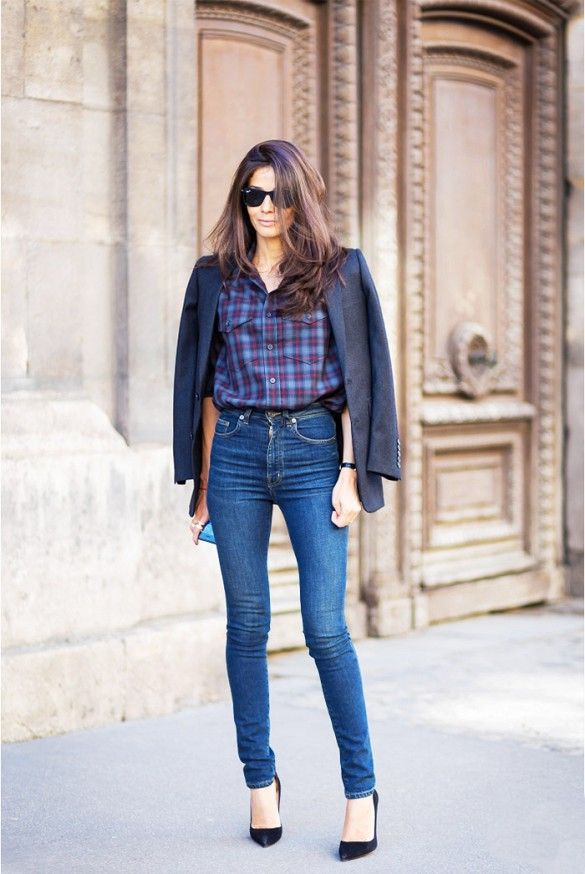 Wear high-waisted jeans to lift your bum and make it appear rounder // wearing blazer over the shoulders + plaid shirt + high-waist skinny jeans