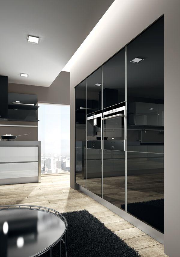 White and Black glossy glass doors Quartz