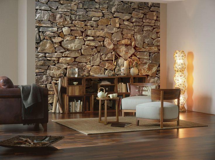 Praxis | Fotobehang van grove stenen en het lijkt net of je buiten bent! Open haard erbij en het warme gevoel kan beginnen!