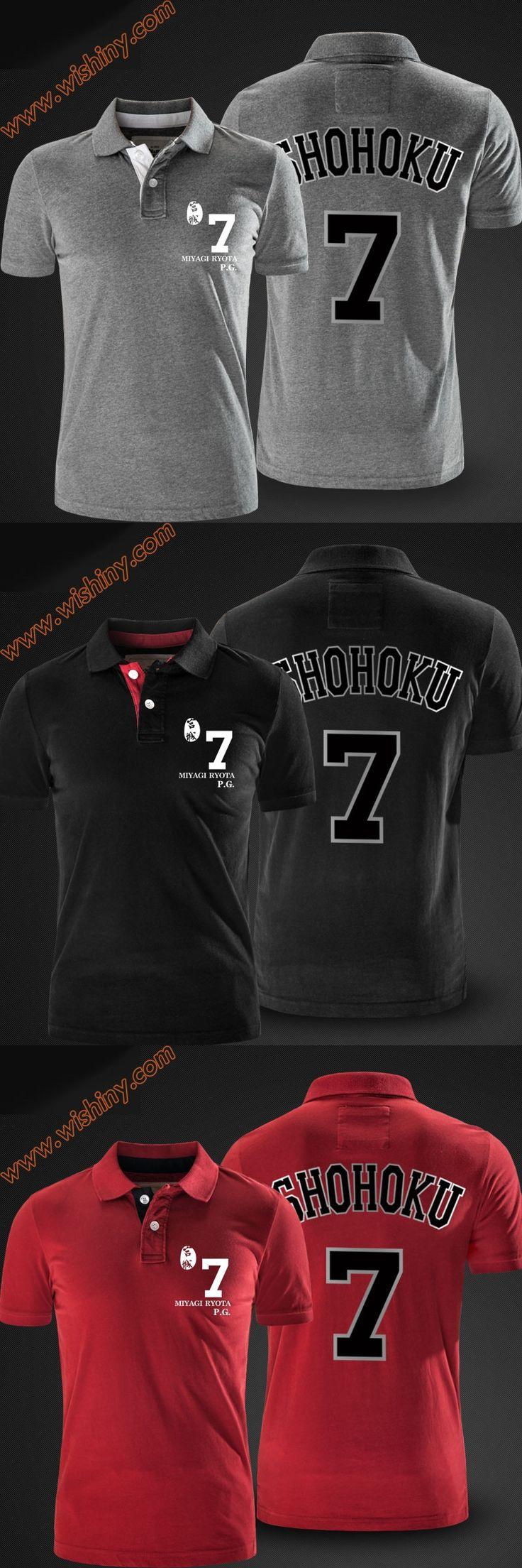 Slam Dunk Miyagi Ryota Polo Shirts Men Short Sleeve Tops Summer Black Red Grey Shohoku Polos