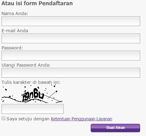 form pendaftaran pada web hosting