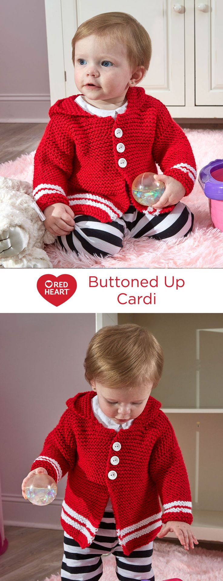 Buttoned Up Cardi Free Knitting Pattern in Red Heart Yarns -- This cute cardigan style sweater is easy to knit in garter stitch. Contrast stripes are added for style and the hood is attached for quick changing weather. Knit it with this tested yarn to help ensure baby's comfort.