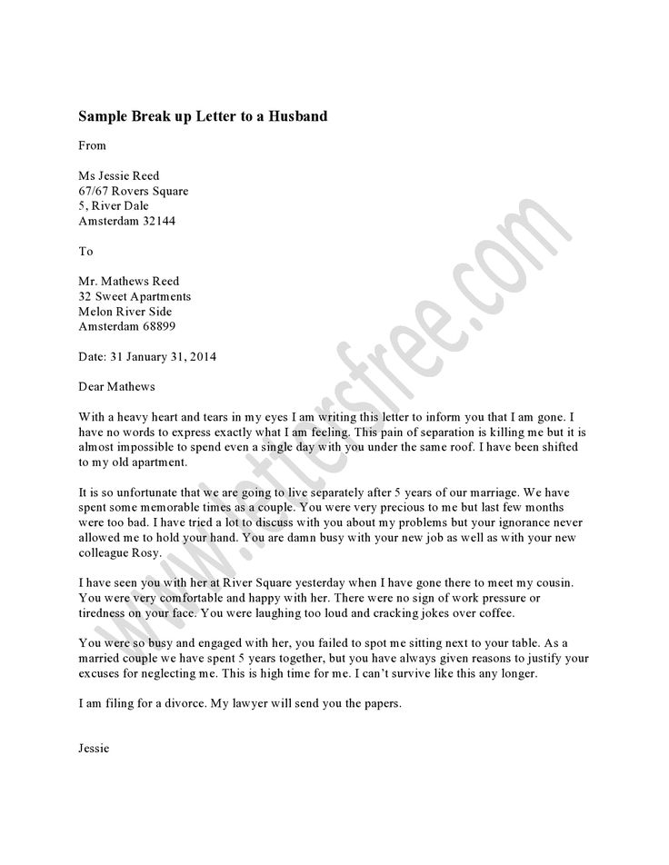 Sample Break Up Letter Free Break Up Letters Writing