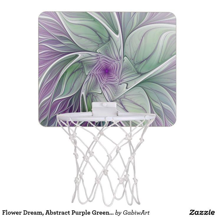 Flower Dream, Abstract Purple Green Fractal Art Mini Basketball Backboard