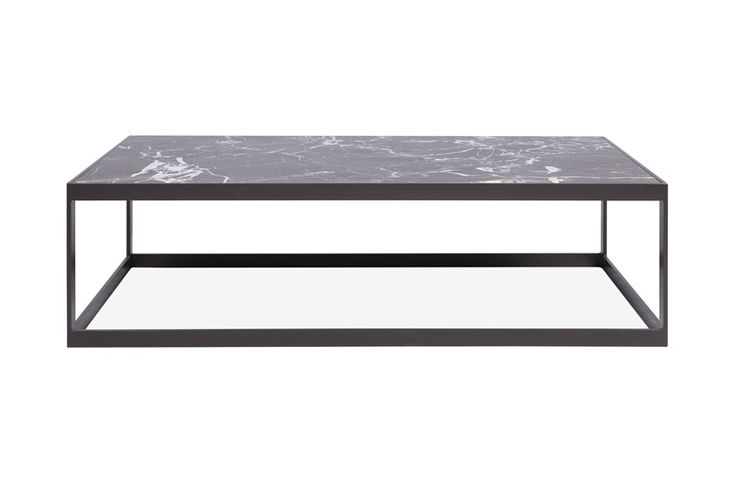 This coffee table pairs an elegant marble top with a linear gunmetal structure. Its proportions make it the perfect addition to any living space, while the rich detailing of its top offers a little something extra.