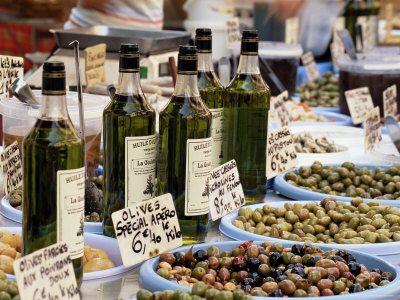 Olives and Olive Oil on Sale at a Market, Provence-Alpes-Cote-D'Azur, France