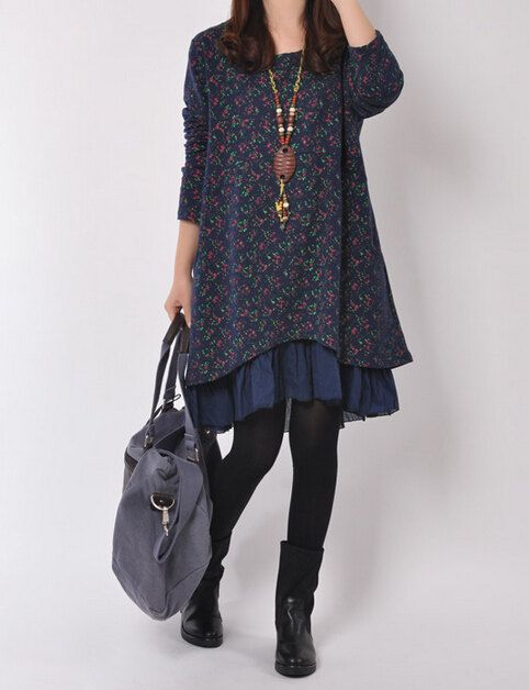 2 color Loose big yards round collar sweater, splicing rural broken beautiful gauze leisure fashion dress.     427