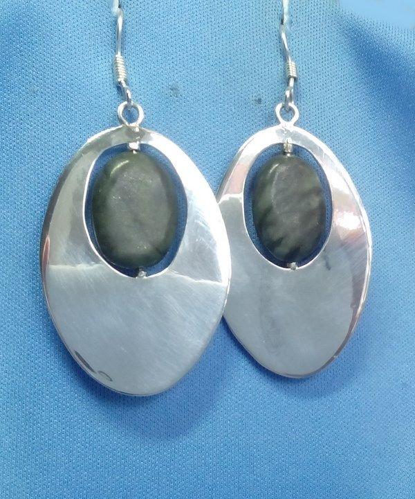 Boucles d'oreilles maya en argent et jade