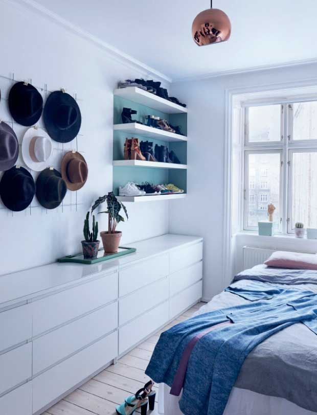 Bedroom with interesting/clever shoe storage