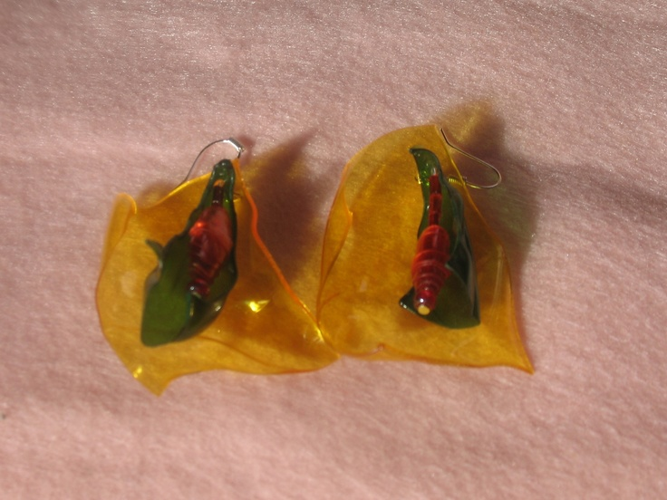 Various colors PET earrings, thinking about spring flowers