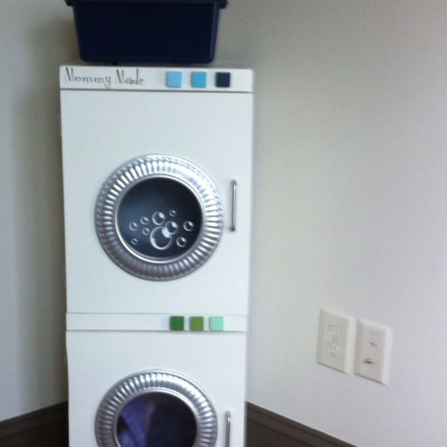 made a washer dryer for my kids playroom mdf 2 lowes buckets plexi glass decorative rings. Black Bedroom Furniture Sets. Home Design Ideas