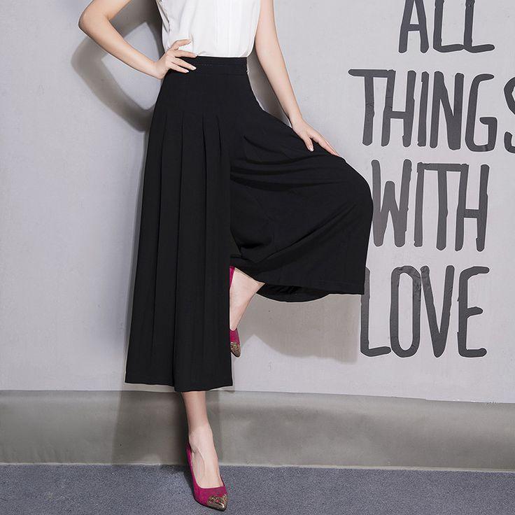 Plus Size Ummer Women Black Wide Leg Pant Loose Linen Dress Pants Female Casual Zipper Fly Trousers Capris Culottes