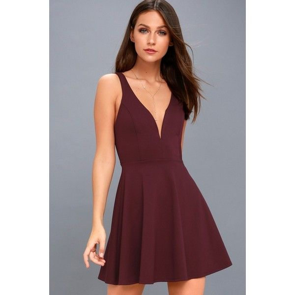 Lulus  Love Galore Plum Purple Skater Dress ($49) ❤ liked on Polyvore featuring dresses, purple, red circle skirt, skater skirt dress, fitted dresses, red dress and circle skirts