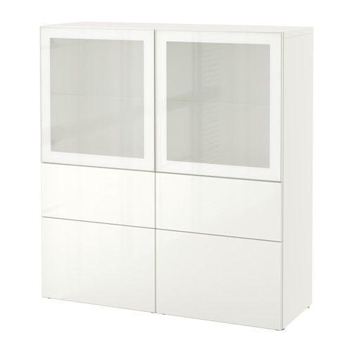 BESTÅ Alm+pt vdro - blanco/Selsviken alto brillo/vidrioesmerilbl, riel p/cajón+apetura presión - IKEA