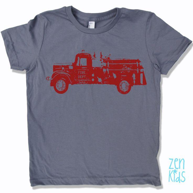Kids Tee Vintage FIRE TRUCK Shirt  American Apparel by ZenThreads, $18.00