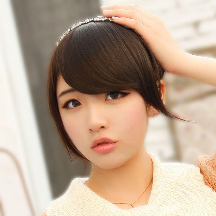 Черные волосы парик бахрома парик кусок челки пояса косой челкой накладные
