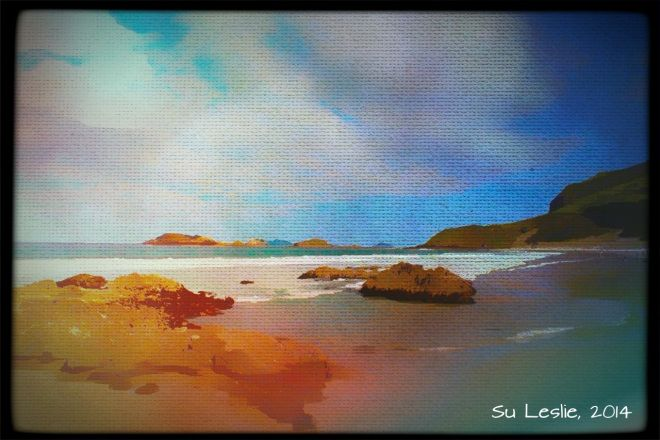 Summer; late afternoon. A walk on the beach with the Big T. Whangarei Heads. Photo: Su Leslie, 2014. Shot with iPhone4, edited with Pixlr Ex...