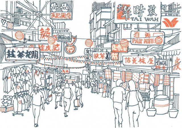 Hong Kong drawing 3-12. I really like drawing the chaotic signage above the busy Kowloon street markets. I had several days to explore Hong Kong in March and was visually inspired. I used dark blue and orange Micron .o5 pens on this drawing. Art by Evan Moss.