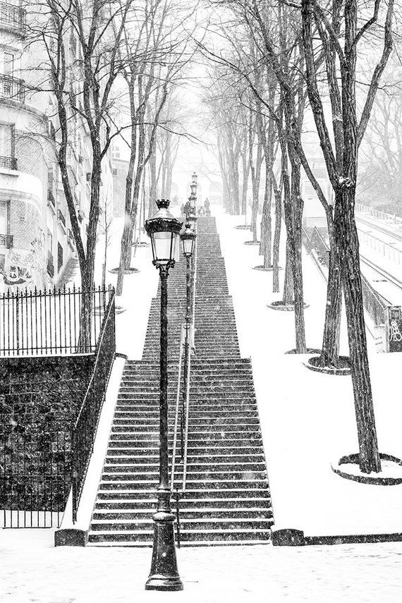 Paris, Snowy morning in Montmartre, winter photography, Paris in the snow, black and white art, Winter in Paris, Francophile