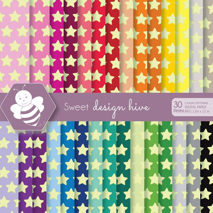 Star digital paper, Bright Colors, digital paper pack, commercial use, scrapbook papers, background, DP4013 by Sweetdesignhive on Etsy