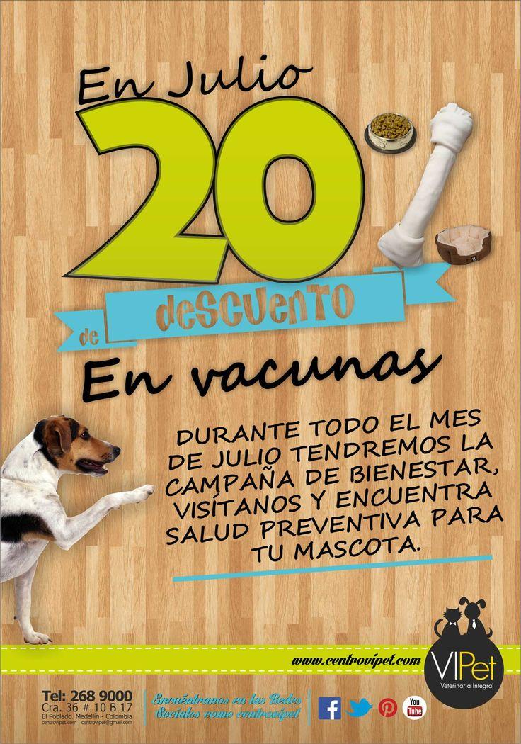 Hola a todos. Durante todo el mes de Julio tendremos 20% de descuento en vacunas y nuestra campaña de bienestar, visítanos y encuentra salud preventiva para tu mascota. Los esperamos! Recuerden buscarnos en las redes sociales como centrovipet.