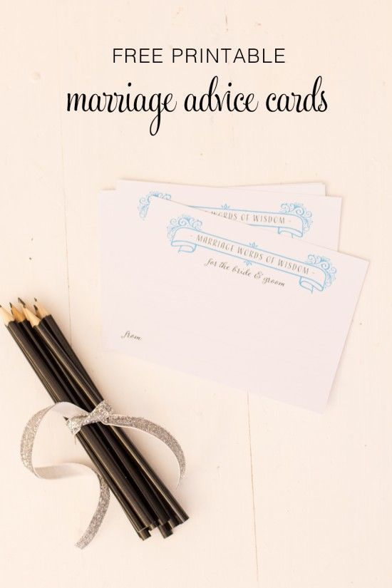 DIY Free Printable Marriage Advice Cards- great instead of a guest book!