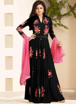 Drashti Dhami Embroidery Resham Work Black Georgette Long Anarkali Salwar Kameez http://www.angelnx.com/Bollywood
