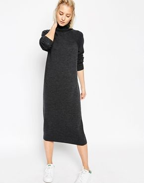 ASOS WHITE Wool Roll Neck Midi Dress