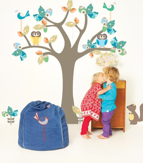 A little magic under the Enchanted Tree! Early bird bean bag in denim is so cool.