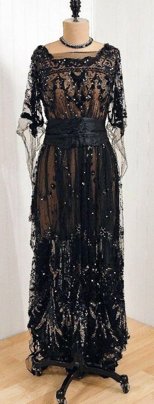 "~1910's ""Sigel"" Early French-Designer Couture Fabric-Label *Elegant Nouveau Sequined\/Beaded Metallic-Silver & Black Silk-Tulle~"