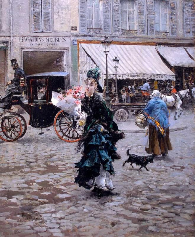 Crossing the Street: 1873-75 by Giovanni Boldini (Sterling and Francine Clark Art Institute, Williamstown, Massachusetts) - Impressionism