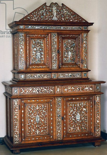 Louis XIII style walnut double cabinet with ivory and mother of pearl inlays, made in Lyon, France, 17th century