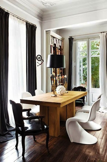 office - great desk: Dining Rooms, Modern Chairs, Pantone Chairs, Black White, Wood Tables, Rustic Wood, Modern Interiors, Dining Tables, White Wall