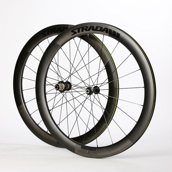 With the latest toroidal aerodynamic shape, competitively priced and hand built to order, the 52mm Rail carbon clincher wheelset in classy matt UD finish (decals or plain) will work in all situations - race, time trial, sportive, triathlon. A wide choice of hubs available. Price listed is for a PAIR inc rim tape, valve extenders and 4x Swissstop Black Prince brake pads.