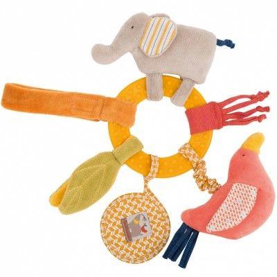 Le hochet anneau éléphant et oiseau de la collection Les Papoum par Moulin Roty divertit l'enfant simplement et efficacement.