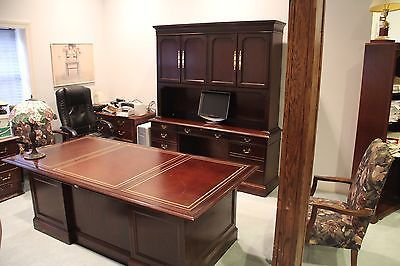 SLIGH Leather Top Desk and Credenza Set  84 x 42 Very Upscale!