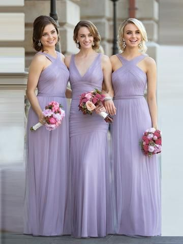 04a00bea89 A line Lavender Straps Long Tulle Bridesmaid Dresses Pleat Floor length  Wedding Guest Party Dress