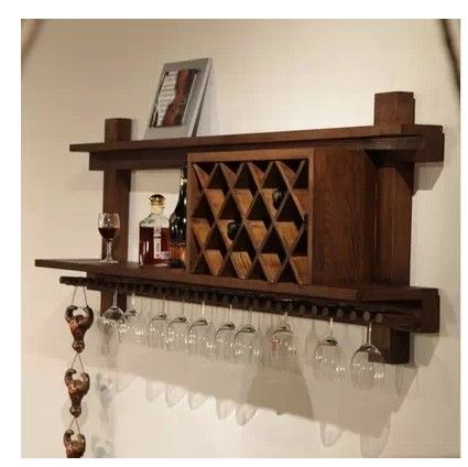 American retro wood wine cabinets showcase modern wine rack hanging cup wall hanging wall wine racks Specials