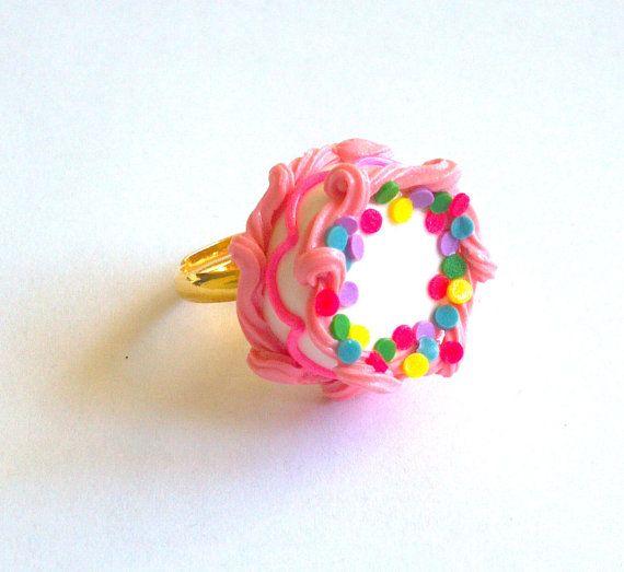 Pink Birthday Cake Ring  Miniature Food Jewelry by FatallyFeminine, $18.00