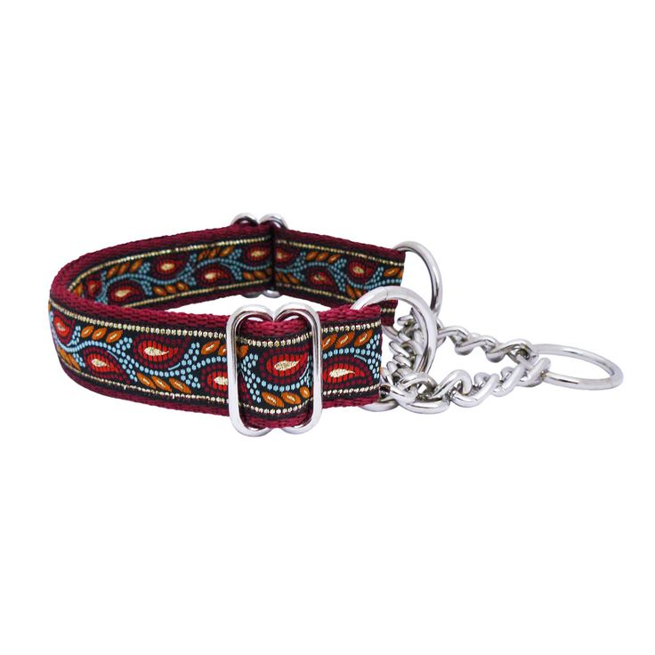 QuiDo Petz Handmade Half Check Dog Collar Burgundy Leaves Adult £17.99
