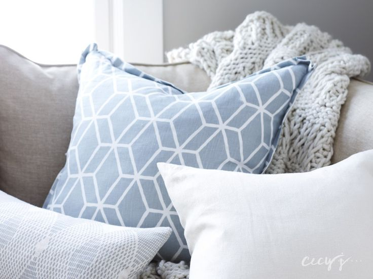 light blue pillow combos on gray beige sectional