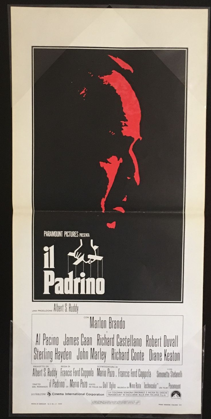 """Marlon Brando's best performance by far as the leader of a Mafia family """"at war"""" with the other Mafia families over drugs selling. This lovely Italian locandina is a beautiful example of a striking movie poster design."""