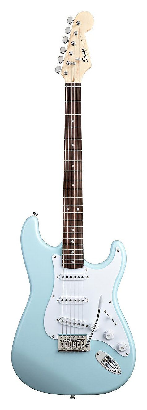 Squier Bullet Strat Electric Guitar with Tremolo - Beautiful vintage-like colors: Daphne Blue, Fiesta Red, Arctic White, Pink, Sunburst, and Black