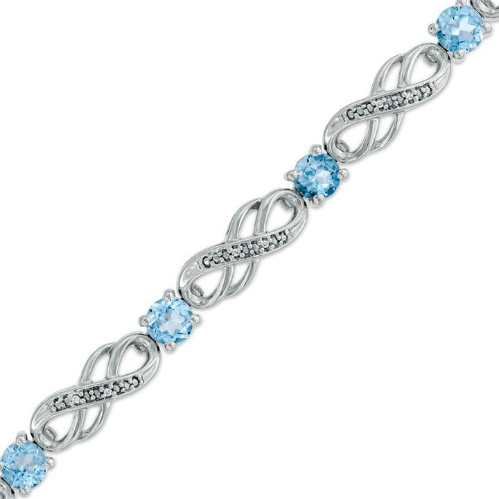 Zales Lab-Created White Sapphire and Diamond Accent Infinity Bracelet in Sterling Silver - 7.5 KQgpOUH